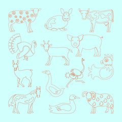 Set farm animals icon