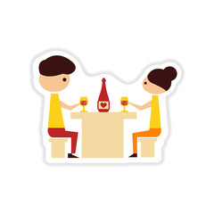 paper sticker on white background couple romantic dinner