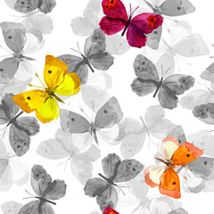 Seamless spring wallpaper with colorful butterflies