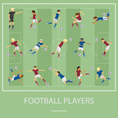 Set of football players.
