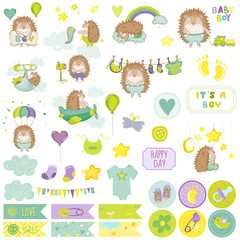 Baby Boy Hedgehog Scrapbook Set. Vector Scrapbooking. Decorative Elements Set