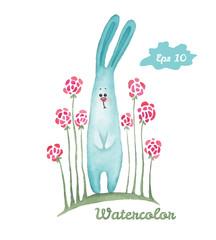 Watercolor rabbit Hand-drawn illustration