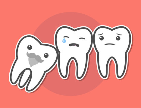 Wisdom tooth causes pain concept.