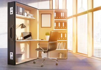 Office workplace inside suitcase toning