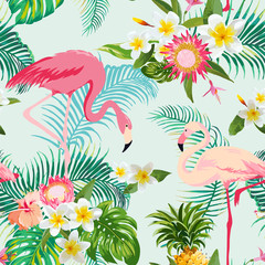 Tropical Flowers and Birds Background. Vintage Seamless Pattern.