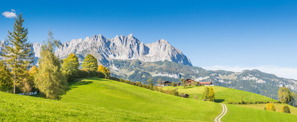 Mountain Cottage in front of Wilder Kaiser, Kitzbühel, Tyrol, Austria Wall mural