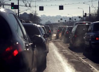Traffic jam in cold season