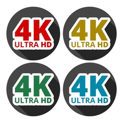 Ultra HD 4K icons set with long shadow
