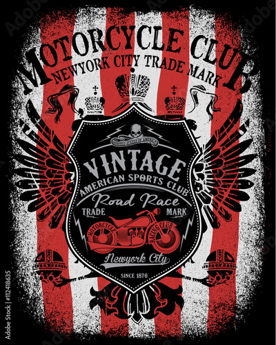 Motorcycle Label T Shirt Design With Illustration Of