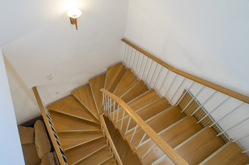 Keuken foto achterwand Trappen Two-storey studio apartment. Interior. A wooden staircase.