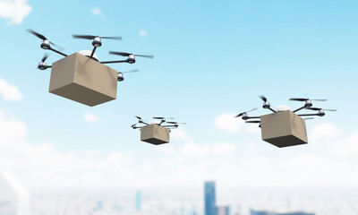 Quadrocopters with cargo over city