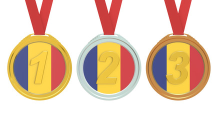Gold, Silver and Bronze medals with Romania flag, 3D rendering
