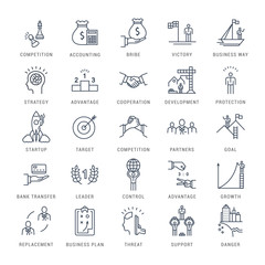 Set Vector Flat Line Icons