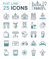 Set Vector Flat Line Icons Paris