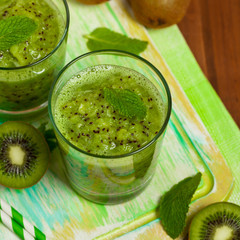Kiwi Fruit Drink. Selective focus.