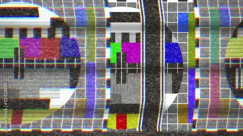 4k Analogue Old Crt Tv Test Card With Color Bars Full Of Noise