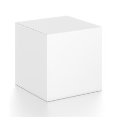 White cube blank box from top front side angle. 3D illustration isolated on white background.