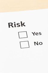 Risk assessment check box