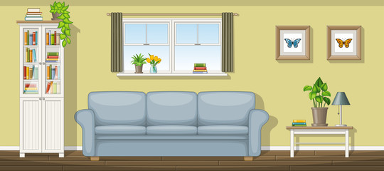 Illustration of a classic living room