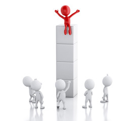 3d white people and red man. Success and leadership concept.