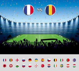 Soccer match France 2016 with excited crowd of people at a socce