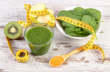 Ingredients, fresh cocktail from spinach and centimeter on wooden background, healthy nutrition and slimming