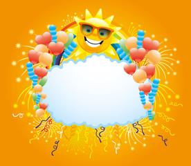 Balloons, confetti, firework, rainbow and sun.