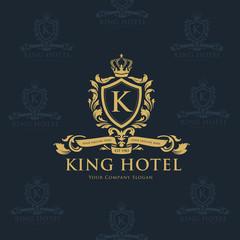 King hotel logo,K letter logo,crest logo,luxury brand design template.