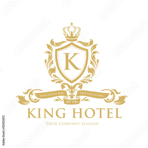 King hotel logo k letter logo crest logo luxury brand for Luxury hotel logo