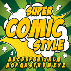 Comic neon alphabet set. Letters, numbers and figures for kids' illustrations, websites, comics