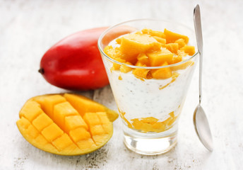 Diet breakfast concept - layered chia seed pudding with mango