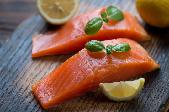 Slices of smoked trout fillet, selective focus, close-up