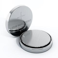 Two button cells. 3D illustration
