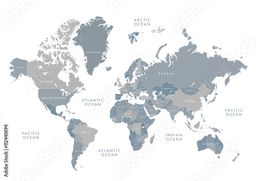 Highly detailed world map with labeling. Grayscale vector ...
