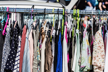 cheap second hand fashion women's clothes at garage sale
