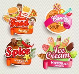 Food labels and symbols.