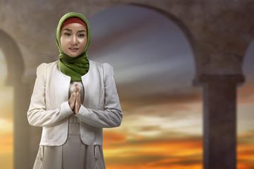 Asian muslim woman smiling