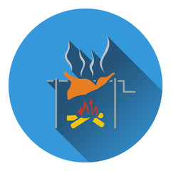 Icon of roasting meat on fire