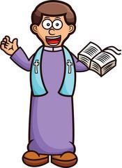 Pastor with Holy Bible Cartoon