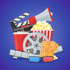 Cinema movie poster design template. Movie film reel and strip, ticket, popcorn, clapper board, soda takeaway, 3d glasses, megaphone on blue background. Vector illustration.