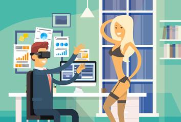 Business Man Sit In Office Wear Virtual Reality Digital Glasses Headset Watch Striptease Girl