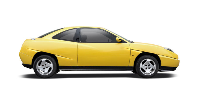 Yellow sport car side view isolated on white