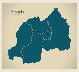 Modern Map - Rwanda with provinces RW