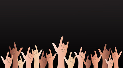 all hands up love sign reflect and black background vector