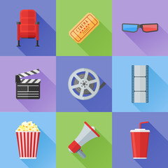 Set of cinema and movie flat style icons. Cinema chair, ticket, 3d glasses, popcorn, clapper board, soda, movie film reel and strip, megaphone. Vector illustration.