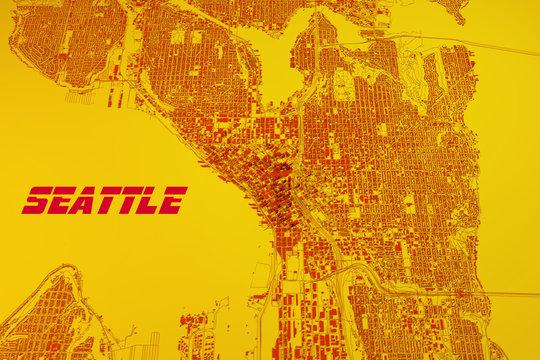Cartina Seattle, vista satellitare, Stati Uniti
