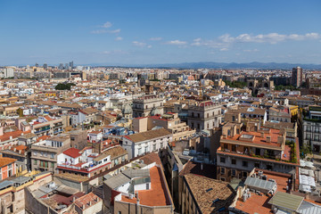 Aerial views of the rooftops of the city of Valencia.