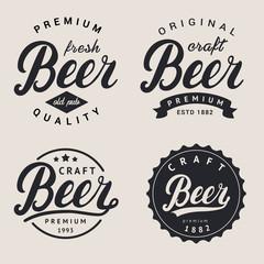 Set of lettering beer logo. Logotype, label and badge design.