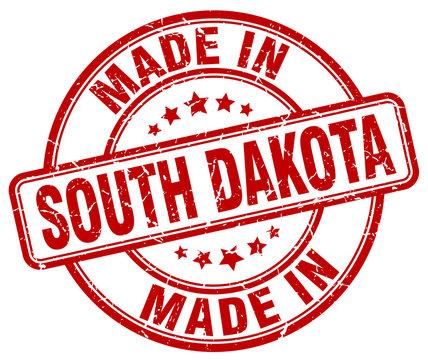 made in South Dakota red grunge round stamp