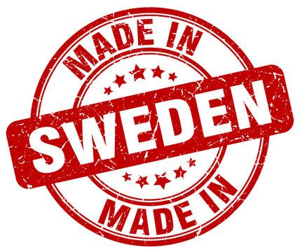 made in Sweden red grunge round stamp